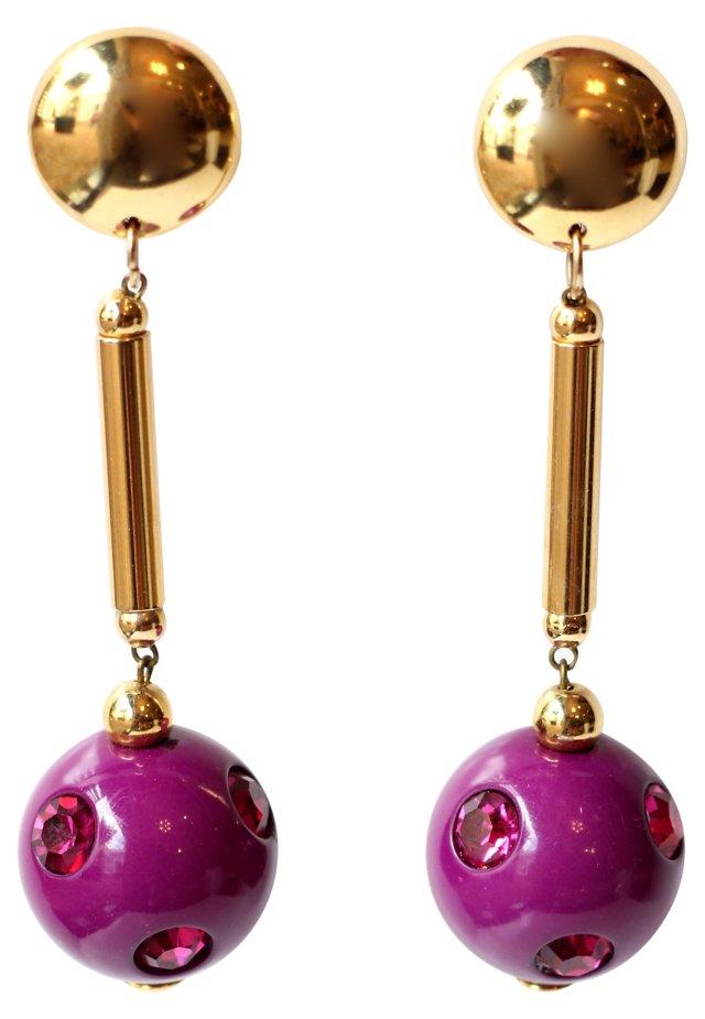Vintage Gold & Violet Earrings