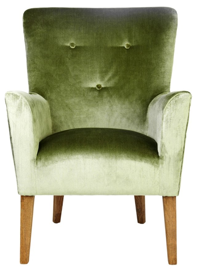 Wilona Velvet Lounge Chair, Grass