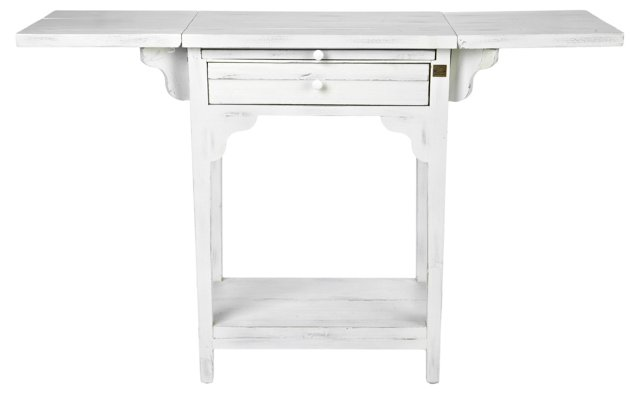 Cailey Console Table, Distressed White