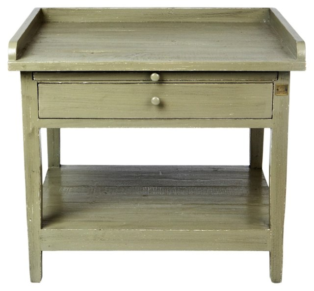 Gloria Telephone Table, Distressed Sage