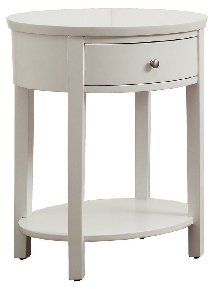 Anne Round Nightstand, White