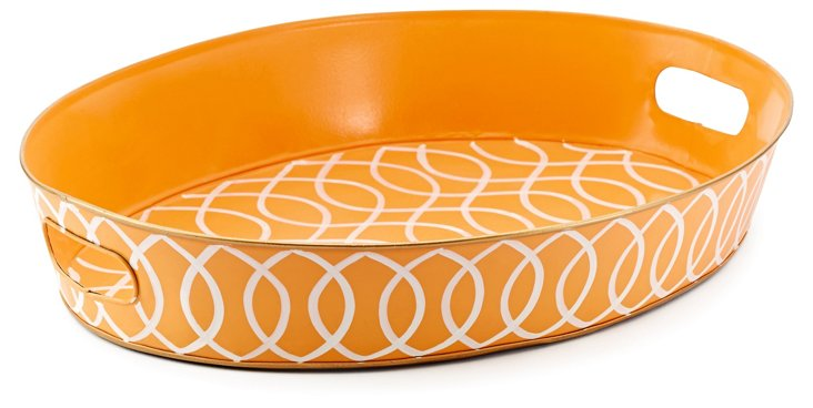"20"" Oval Tray, Tangerine Kate"