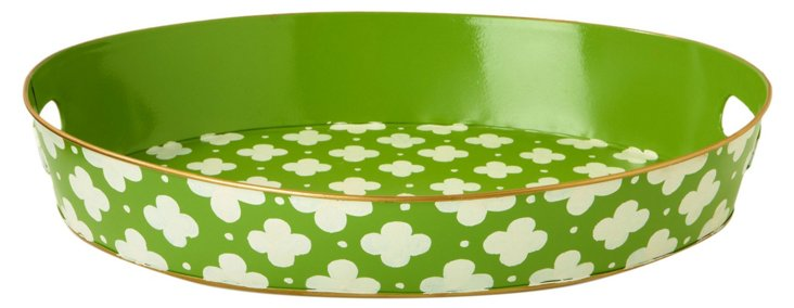 "20"" Oval Tray, Green Kate"