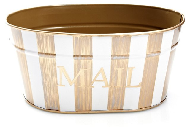 Mail Tub, Brush Stripe Ivory