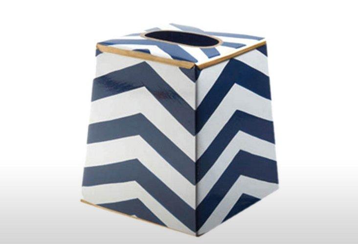 Tissue Box Cover, Chevron Navy