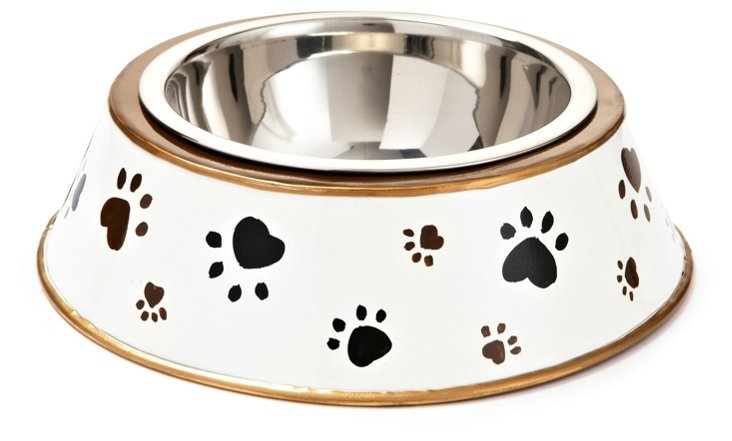 Paw Prints Dog Bowl, Black/Cream