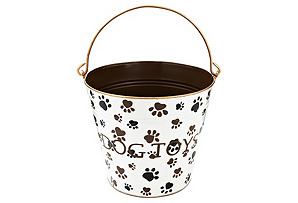 "Paws ""Dog Toys"" Pail, Cream/Brown/Black"