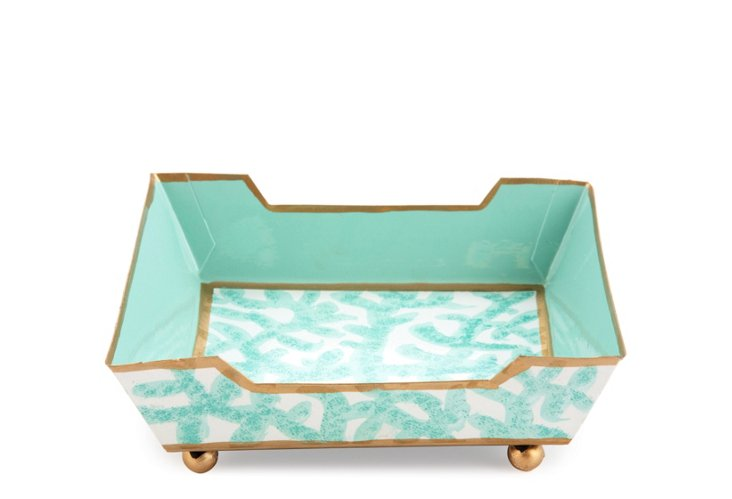 Cocktail Napkin Tray, Coral Aqua