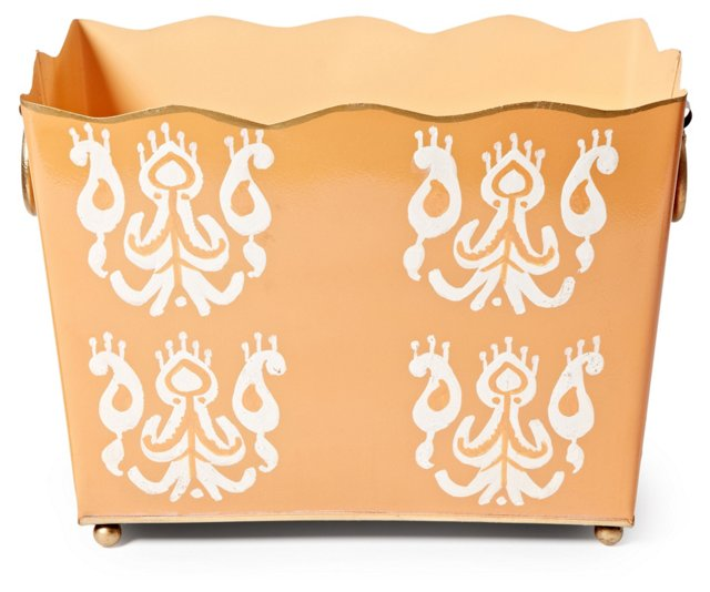 "14"" Magazine Bin, Orange Ikat"