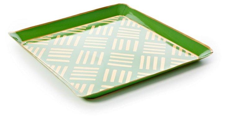 Square Metal Tray, Green