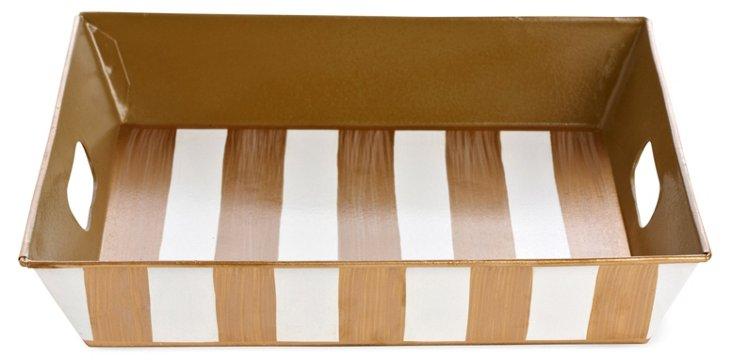 Square Tray, Brush Stripe Ivory