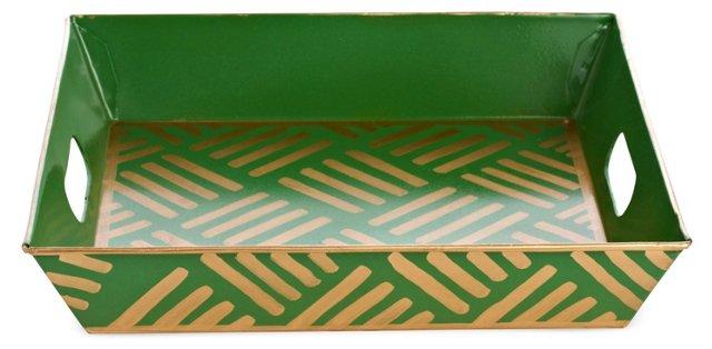 Rectangular Vanity Tray, Green Ikat