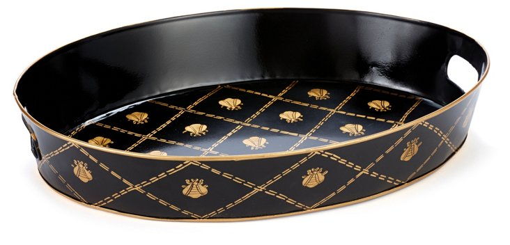 Oval Tray, French Bee Black