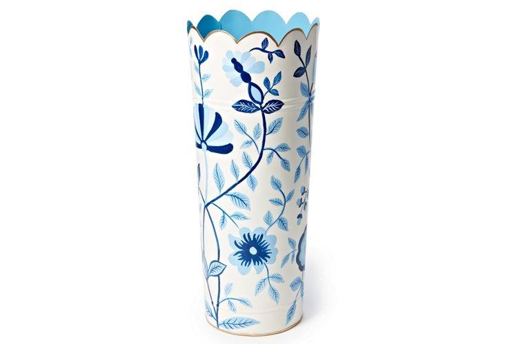 Umbrella Stand, Jacobean Floral Blue