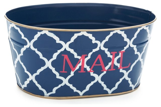 "12"" Mail Tub, Navy Madeline"