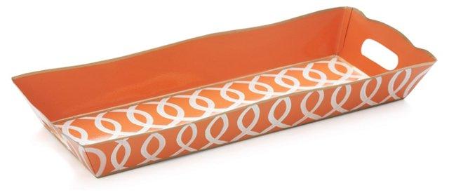 Rectangular Vanity Tray, Ikat Orange