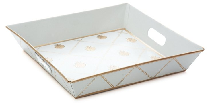 Square Metal Tray, French Bee Gold