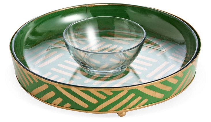 Serving Tray, Green Ikat