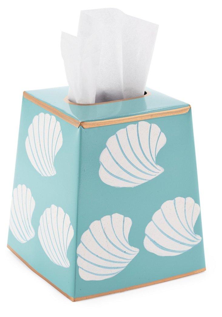 Tissue Box Cover, Shells Aqua
