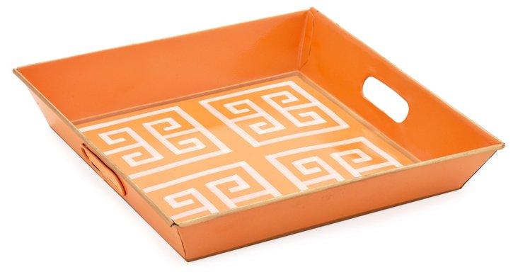 Square Metal Tray, Greek Key Orange