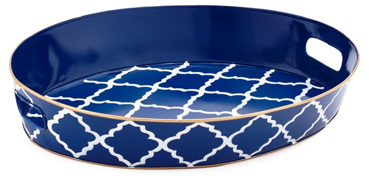 "20"" Oval Serving Tray, Navy Madeline"