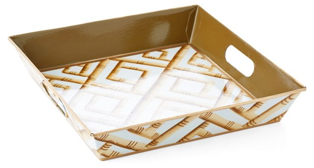 "12"" Square Tray, Cream Bamboo"