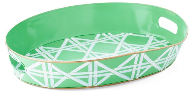 "20"" Oval Tray, Green Cane"