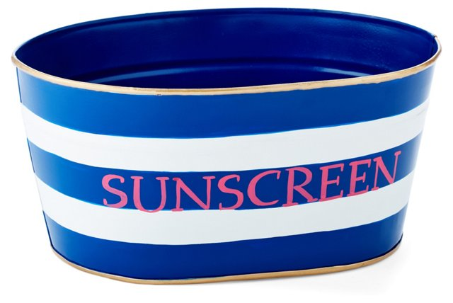"12"" Sunscreen Striped Bin, Blue"