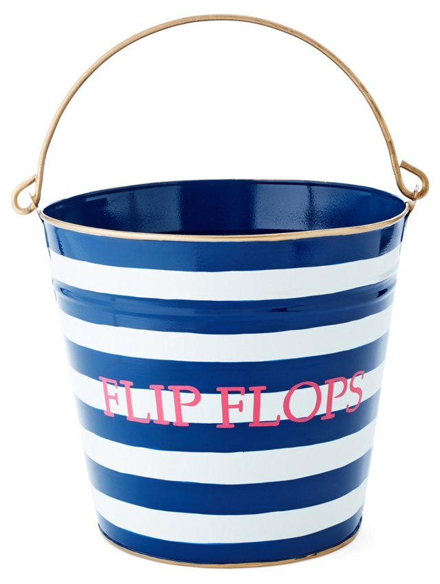 "13"" Flip Flops Striped Bin, Blue"
