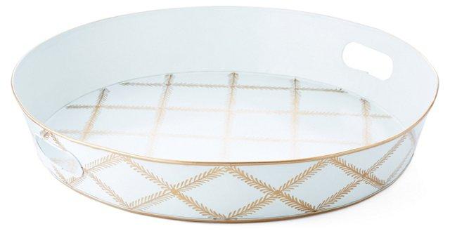 """20"""" Ottoman Tray, Blue/Gold Leaf Lattice"""