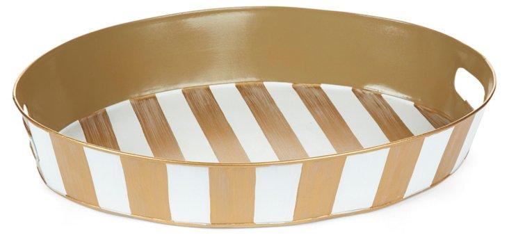 "20"" Oval Tray, Ivory Stripe"