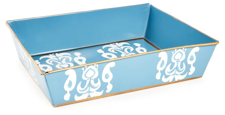 "14"" Letter Tray, Blue Ikat"
