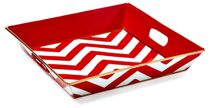 "12"" Square Tray, Red Chevron"