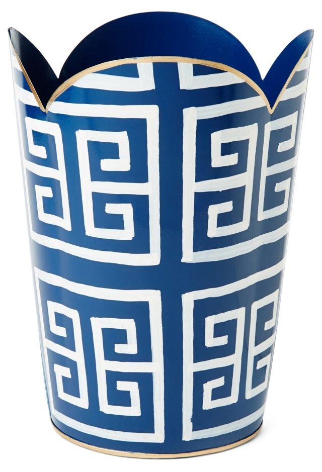 "12"" Greek Key Tulip Wastebasket, Navy"