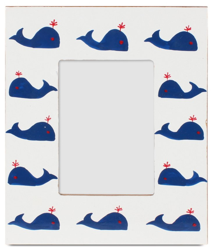 Whales Frame, 5x7, Navy
