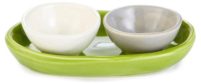 Salt & Pepper Bowls w/ Tray, Green