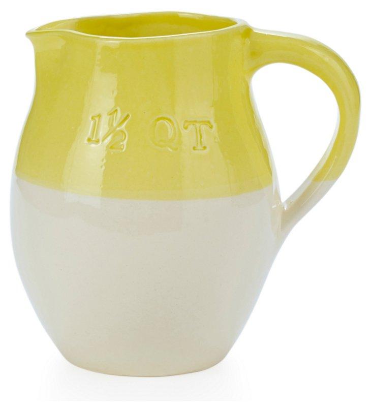 Handmade Pitcher, 1.5 Qt Yellow/Cream