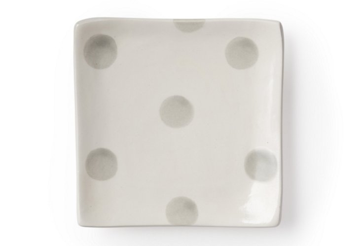 Canapé Plate, Gray Dots