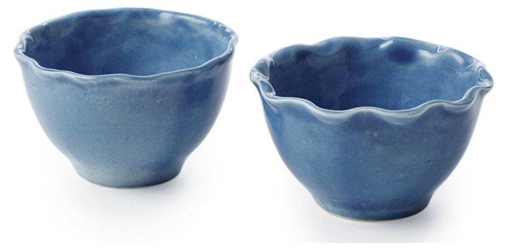 S/2 Small Ruffle Nut Bowls, Blue