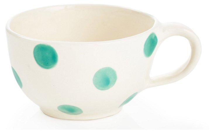 Big Coffee Cup, Teal Dots