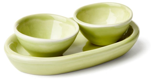 3-Pc Pinch Bowl Set, Green