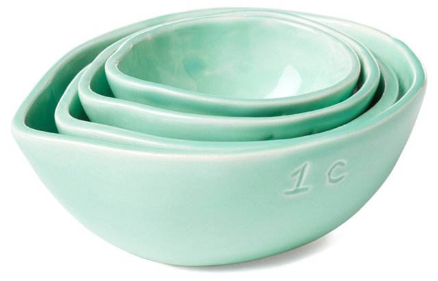 S/4 Assorted Measuring Cups, Aqua