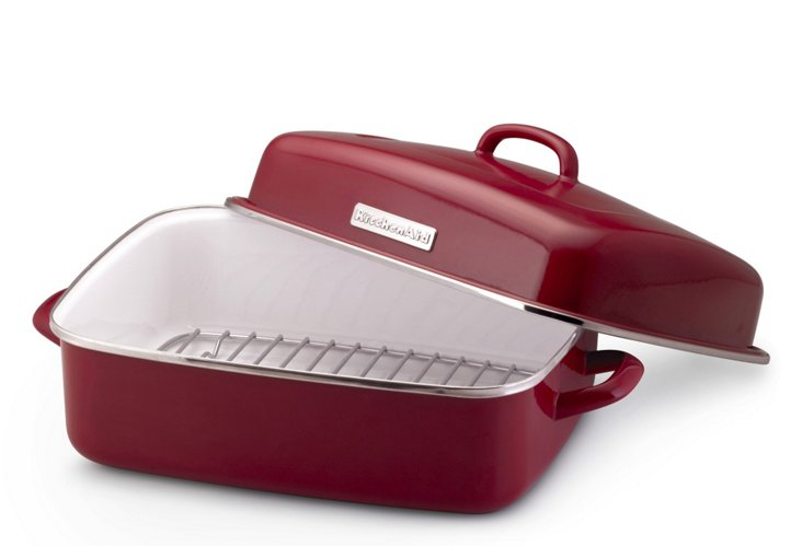 Covered Roaster w/ Rack, Red
