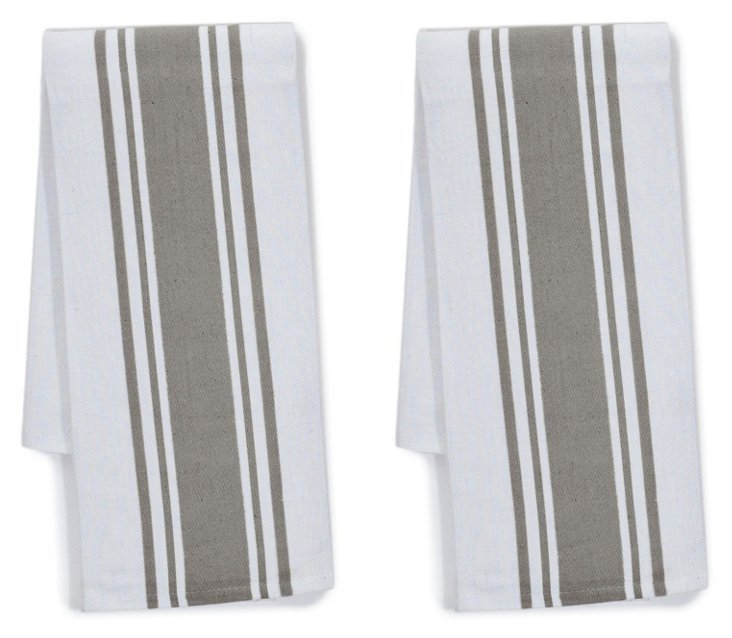 S/4 Center Band Kitchen Towels, Pewter