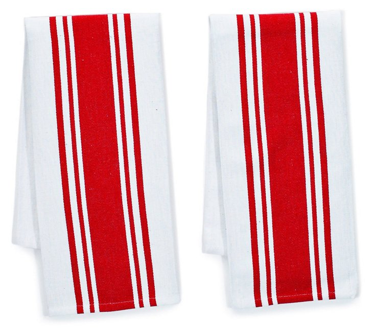 S/4 Center-Band Kitchen Towels, Red