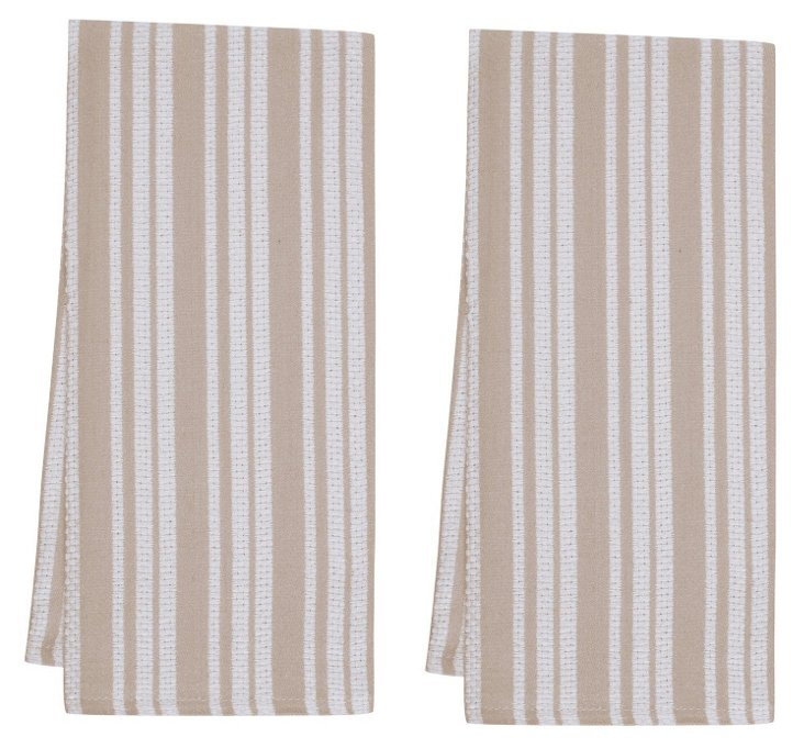 S/4 Basket Weave Kitchen Towels, Oatmeal