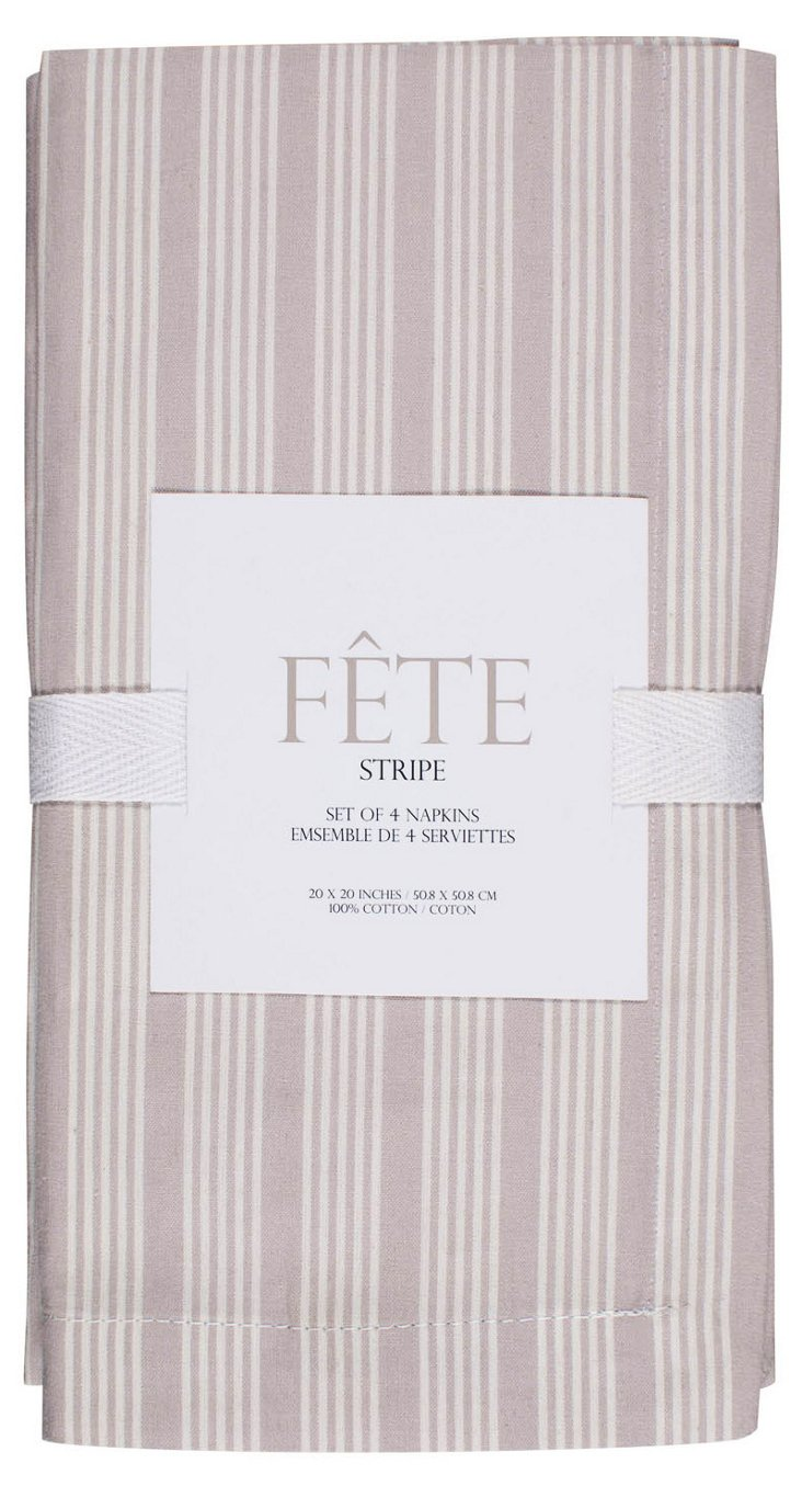 S/4 Fete Solid Napkins, Flax