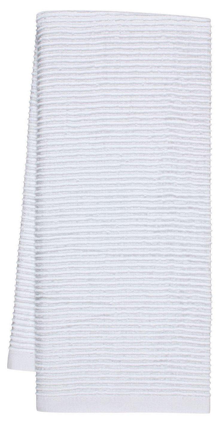 S/4 Whim Wave Kitchen Towels, White