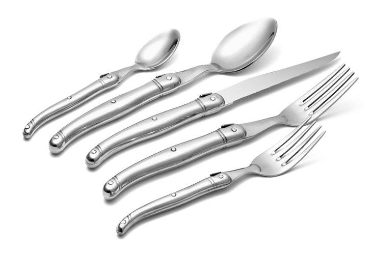 20-Pc Laguiole Flatware Set, Silver