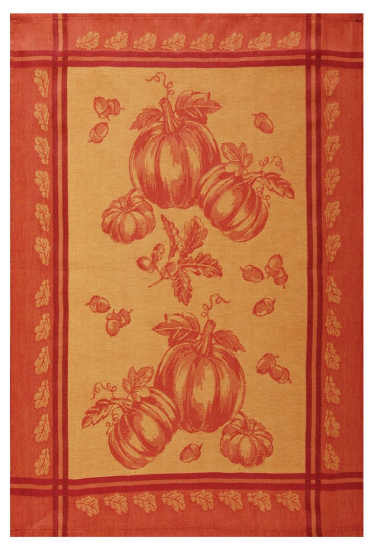 S/2 Kitchen Towels, Pumpkin